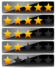 Star Rating System on Glossy, Black Panels