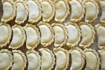 Dumplings on the kitchen board