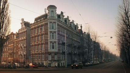 Grand Old Building On City Corner In Evening