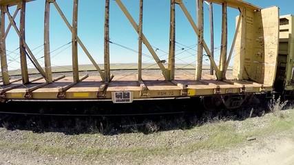 Side view of abandon train cars in Idaho