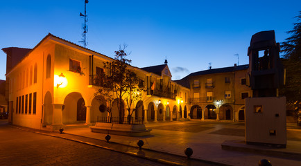 Town square at  spanish town in night.  Utrillas