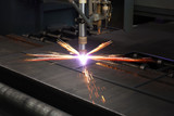 Industrial cnc plasma cutting of metal plate - 80705620