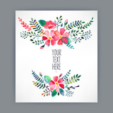 Fototapety greeting card with watercolor flowers - 4