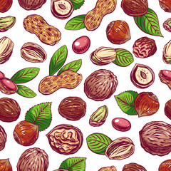 seamless colorful nuts