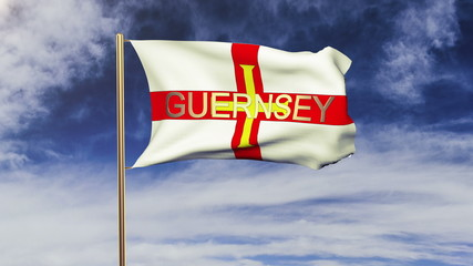 Guernsey flag with title waving in the wind. Looping sun rises