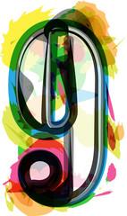 Artistic Font - Number 9