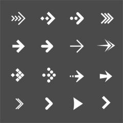 Vector white arrows set on a black background. Flat Design