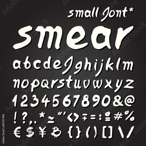 In de dag Retro sign Small letters Smear hand painted font