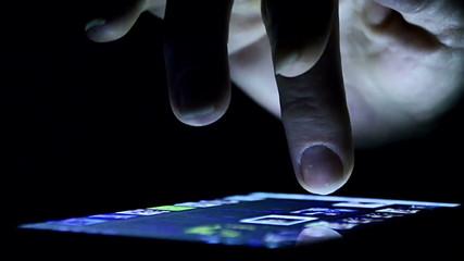 Woman Using a Smartphone, at dark