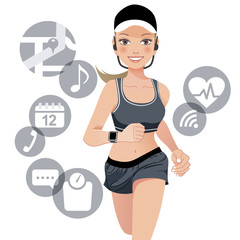 女性 スマート ウォッチ エクササイズ woman with smart watch device