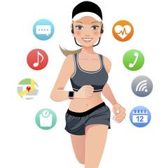 女性 スマートデバイス ランニング sport woman running with smart watch device