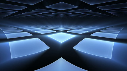 Blue Cubical Rotating Perspective Stretching Off To Infinity