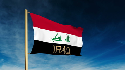 Iraq flag slider style with title. Waving in the wind with cloud