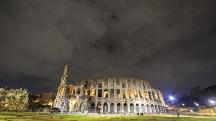 Night Colosseum. Rome, Italy. Time Lapse
