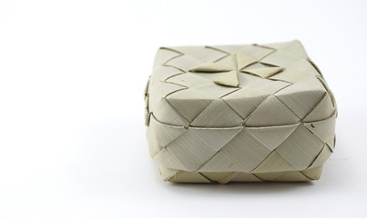 Small bamboo woven box in Asian style isolated