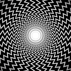 Black and White Abstract Background / Image with Radial, Edgy Zi