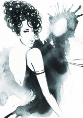 art sketch of beautiful young woman in dress. © Anna Ismagilova