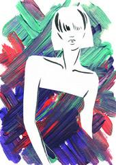 art sketch of beautiful young woman in dress.