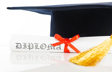 Graduation Cap with Degree Isolated on White Background