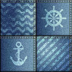 Patchwork of denim fabric in marine style.