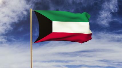 Kuwait flag waving in the wind. Green screen, alpha matte