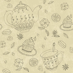 Sketch of tea party. Seamless pattern