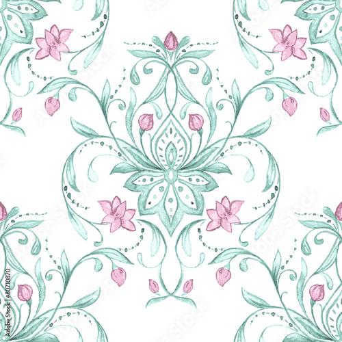 Watercolor damask pattern - 80710870