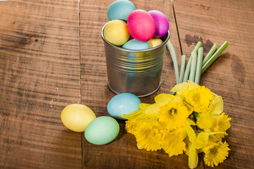 Silver container of dyed Easter eggs