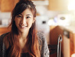 happy smiling asian teen girl portrait in kitchen - 80712460