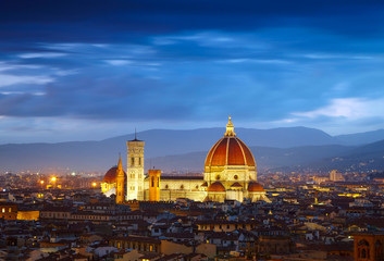 After sunset view of Cathedral  Santa Maria del Fiore. Florence,