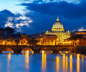 Basilica St. Peter in Rome, Italy. Night view after sunset
