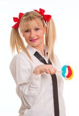 woman doing schoolgirl uniform and lollipop