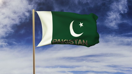 Pakistan flag with title waving in the wind. Looping sun rises