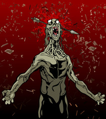 cartoon screaming zombie with an arrow in the head