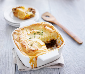 cottage pie with piece missing