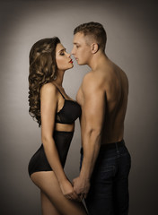 Couple Kissing, Sexy Woman and Man Sensual Portrait