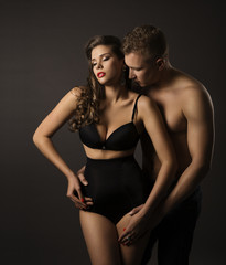 Sexy Couple Woman Man Portrait, Sensual High Waist Underwear