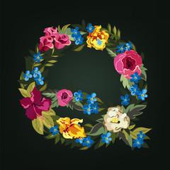Q letter. Flower capital alphabet. Colorful font. Uppercase.