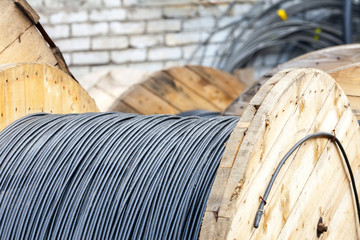 Wooden Coils Of Electric Cable Outdoor