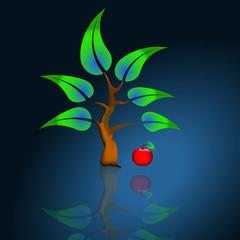 Baum mit Apfel