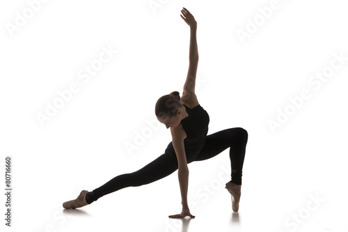 young modern ballet dancer isolated on white background Plakát