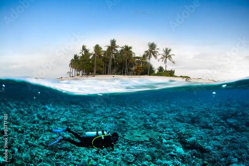 Fotobehang Duiken scuba diver coconut island kapoposang underwater bali lombok