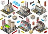 Isometric Building Factory Set City Map Vector