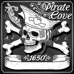 Black Pirate Cove Flag - Jolly Roger