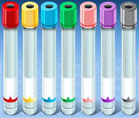 Isometric Multicolor Collection Test Tube - Empty - Complete Set