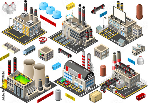 Isometric Building Factory Set City Map Vector - 80717854