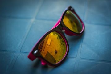 fashion sunglasses on the table
