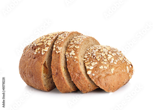 whole wheat bread isolated on white background - 80718228