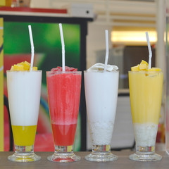 Various of smoothie beverage on table.