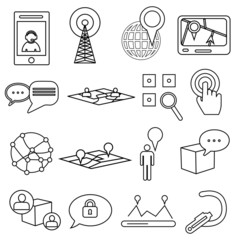 Communication location line icons set